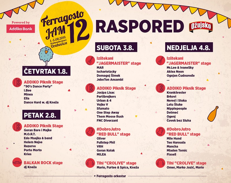 Ferragosto JAM 12 - Poznat raspored po danima
